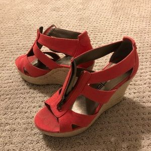 Canvas wedges, orange-red color!